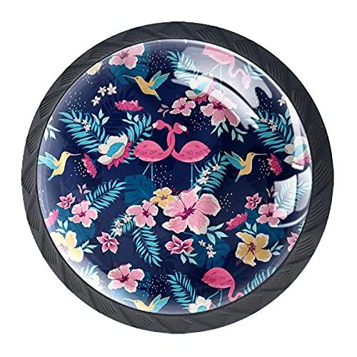(4 piezas) pomos de cajón para cajones, tiradores de cristal para gabinete con tornillos, para armario, oficina, armario, flamencos y flores, 35 mm