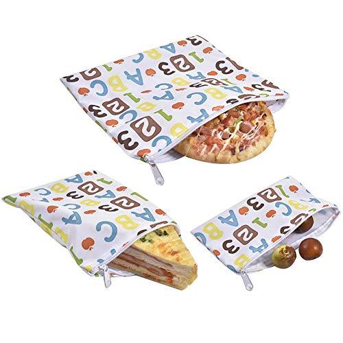 3 bolsas de sándwich de cera de abeja, reutilizables, sándwich de pan, bolsa impermeable para rebanadas de frutas, sándwiches y aperitivos, secas, camping, viajes, senderismo