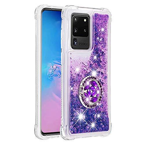 Funda para Samsung Galaxy Note 20 ultra brillante, soporte de anillo de 360 grados, con arenas movedizas líquidas y purpurina, con arena rápida, gradiente suave, carcasa de silicona para Samsung Note 20 Ultra
