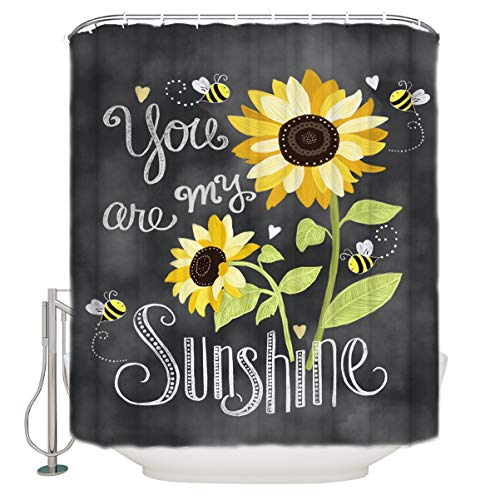 Z&L Home Sunflowers and Bees Shower Curtains for Bathroom Decor You are My Sunshine, Polyester Fabric Waterproof Bath Curtain Set with Hooks