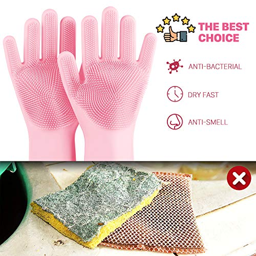 NIROLLE Reusable Silicone Dishwashing Gloves, Pair of Rubber Scrubbing Gloves for Dishes, Wash Cleaning Gloves with Sponge Scrubbers for Washing Kitchen, Bathroom, Car & More (Pink)
