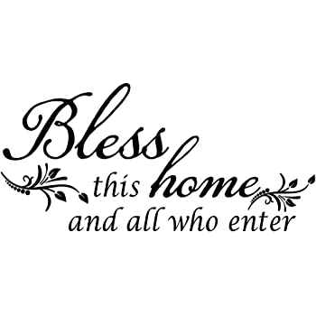 Decaltor Bless This Home and All who Enter - Vinyl Wall Decal Entryway Living Room Décor Art Letters Quotes Stencil