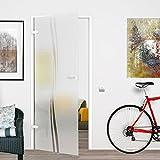 M2-709/834/959L-BB: Glasdrehtür, ESG Glas 709/834/959x1972x8mm, DIN links/rechts, Siebdruck M2, mit...