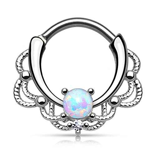 Gekko Body Jewellery Lacey Single Light Purple Opal Septum Clicker Nose...