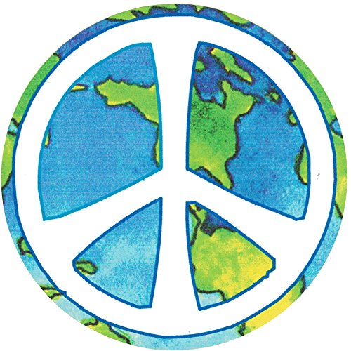Peace Sign Over Earth - Small Bumper Sticker or Laptop Decal (3.25' Circular)