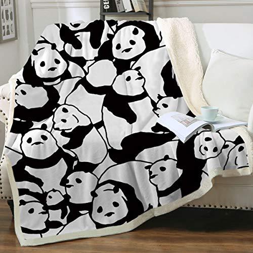 Sleepwish Panda Plush Blanket Cartoon Animal Fleece Throw Blanket Cute Panda Bears Pattern Kids Blankets Soft Warm Fuzzy Blankets for Adults Girls Black and White (50x60 Inches)