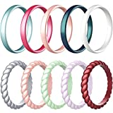 Zollen 10 Pack Silicone Wedding Rings for Women, 3mm Metallic Color Thin Braided Rubber Wedding Bands Stackable Ring, Hypoallergenic Silicone, Size 7