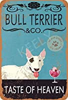 ブルテリア犬アイスクリームコンプ超耐久性ブリキサインレトロバーピープルケーブカフェガレージホームウォールデコレーションサイン8x12インチ