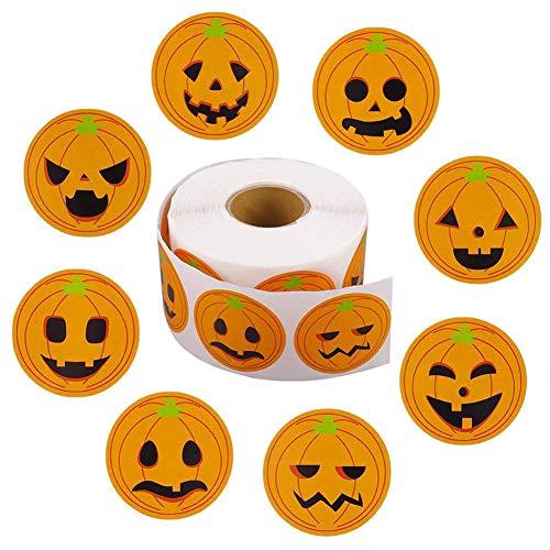 800 Stück Halloween Kürbis Aufkleber, Halloween Süßes oder Saures Aufkleber 1,5 Zoll Rundkreis Gesicht Aufkleber für Halloween Partyzubehör, Goodie Bags Labels