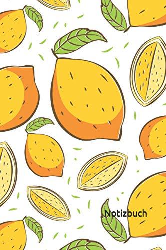 Notizbuch: Zitronen Notizbuch | 6x9 Zoll DIN A5 | 120 Seiten Punktraster | Zitrone Notizheft | Zitronenmuster Tagebuch | Garten Notebook