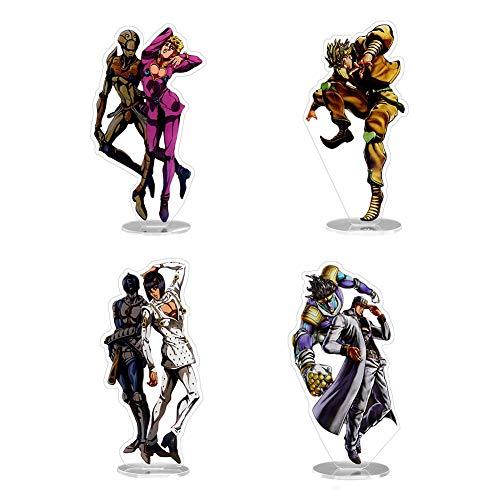SGOT JoJo's Bizarre Adventure Figur, Jojos Charakter Acryl Figur, Tischplatten Dekoration Geeignet für Anime Lovers 15cm(4 STK)