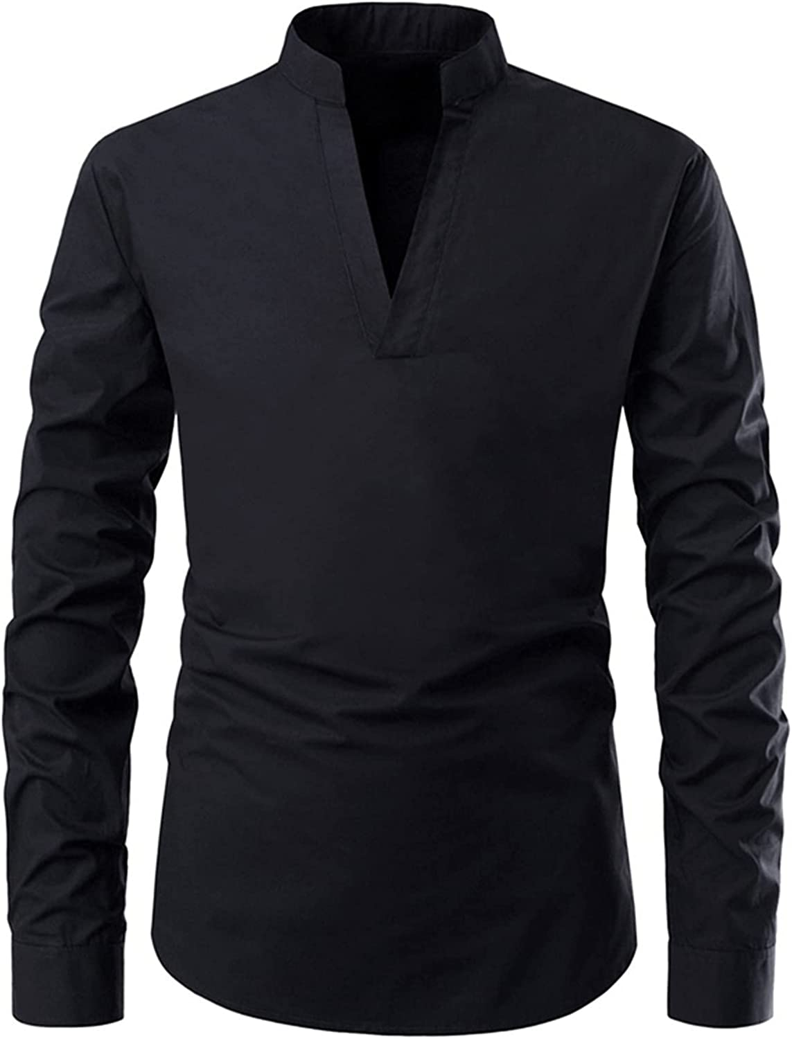 FUNEY Mens Fashion Slim Fit Long Sleeve T Shirts Casual Hippster V Neck Plain Stretch Beefy Henley Cotton Shirt Tops Jersey