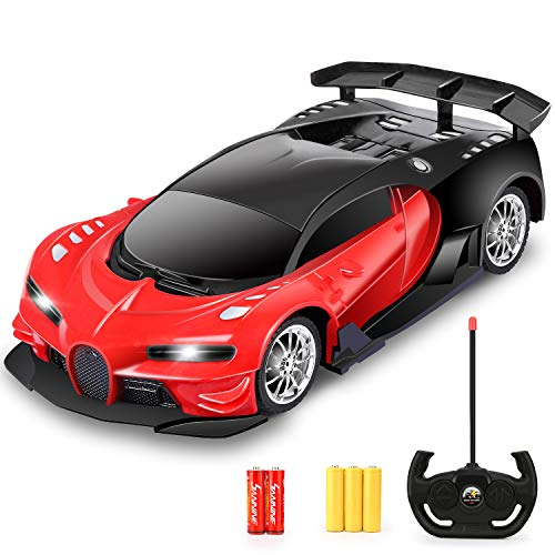 Remote Control Car - 1/16 Scale Electric Remote Toy Racing, with Led Lights High Speed RC Toy Car for Kid 3 4 5 6 7 8 9 Year Old Boys and Girls (Red)