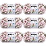 BERNAT Baby Blanket Yarn, 3.5oz, 6-Pack (Little Petunias)