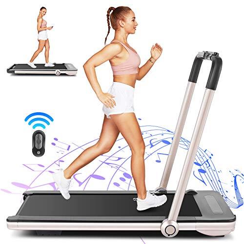 FUNMILY Folding Treadmill, 2 in 1 Under Desk Treadmill for Home Office Walking Jogging Running,...