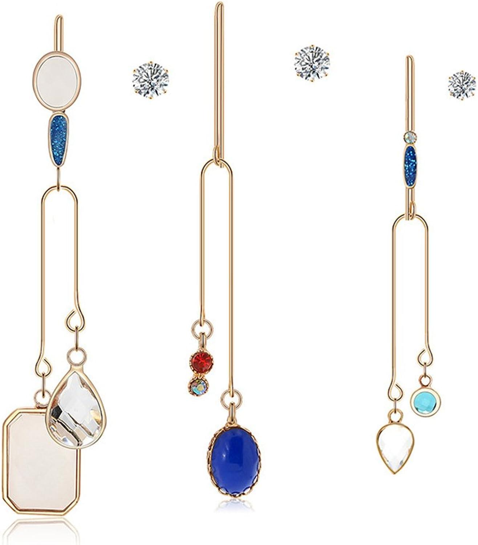 Asymmetric Tassel Earring Personality Multicolord Gemstone Pendant Hook Earring Stud Earrings for Women and Girl