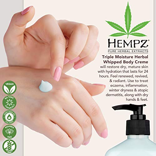 51kIGJcD0KL - Hempz Natural Triple Moisture Herbal Whipped Body Creme with 100% Pure Hemp Seed Oil for 24-Hour Hydration - Moisturizing Vegan Skin Lotion with Yangu Oil, Peach and Grapefruit - Enriched Moisturizer