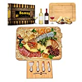 Bamzy Natural Cheese Board and Knife Set - Premium Quality - Large Cheese Board 17.5' x 13.5' -...