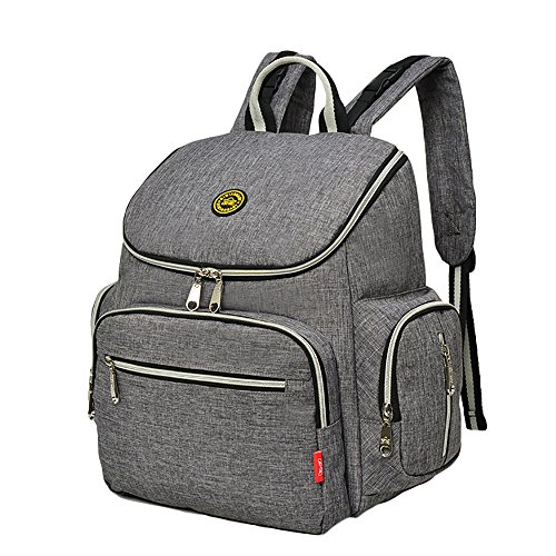 Diaper Bag Backpack with Baby Stroller Straps, Daddy Diaper Bags with Large Pocket, Stylish Travel Designer and Organizer for Women & Men, 12 Pockets, Grey