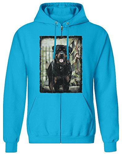 Harma Art Rottweiler Zipper Hoodie Jumper Pullover for Men 100% Soft Cotton Mens Clothing XX-Large