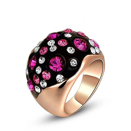 HOX Hypoallergene Fashion Sieraden Oostenrijkse Crystal Rose Goud Rood en Wit Diamanten Ring Sieraden