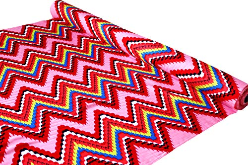 Full Funk Bright Zigzag Print Thin Viscose Rayon Fabric - 40 inch x 3 Yard, Pink Rose Red