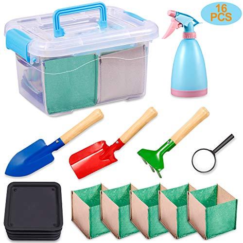 KODATEK Kids Gardening Set, for Real Planting or Sand Gardening 16PCS Contain: Sprayer, Shovel, Spade, Rake, Magnifier, Tray, Planting Bag, Gardening Tool Suitcase Little Gardener Tool, Amazing Gift