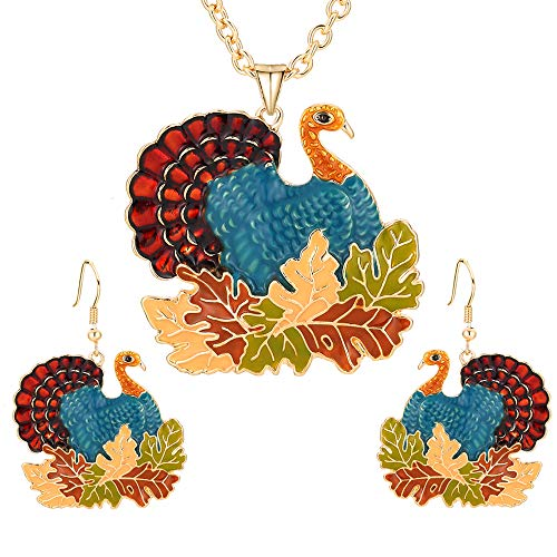 Christmas Turkey Enameled Pendant Necklace Dangle Earrings Set Thanksgiving Maple Leaf Xmas Holiday Jewelry Sets Gift For Women Girls.