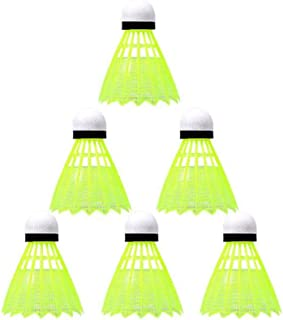 BinaryABC Plastic Badminton Shuttlecock,Badminton Birdies Balls,Indoor Outdoor Training Sport Badminton Balls,6Pcs(Yellow)