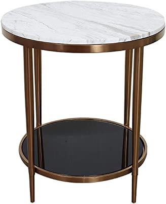 Coffee Table, Living Room Modern Simple Stainless Steel Round Double Small Coffee Table