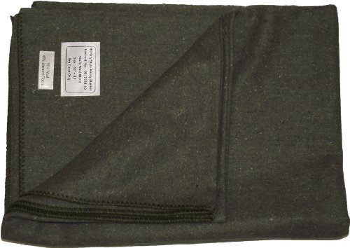 Manta lana, diseño militar, verde oliva, 60
