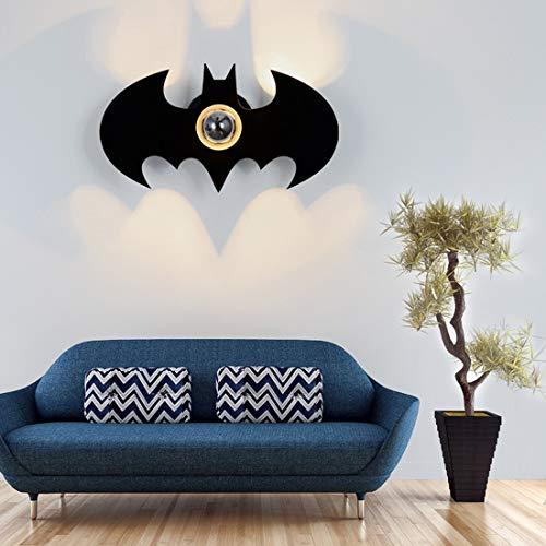 Noir LED E27 Applique murale dessins animés créatif, lampe de couloir ronde de projection Batman lumière murale pour chambre d'enfants moderne Salon chambre à coucher balcon bar spots de mur, D32cm