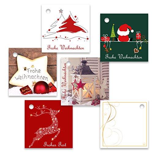 25er Pack Geschenkanhänger Frohe Weihnachten ca. 55 x 55 mm verschiedene Motive, Weihnachtsanhänger, Geschenkkärtchen, Anhänger, Geschenkkarte, Geschenkkarten, Anhängeetikett, Topper