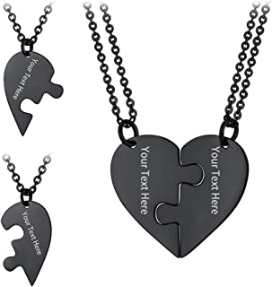 PROSTEEL Custom Two Heart Necklaces for Couples Best Friend Personalized Engrave Necklace Stainless Steel Jewelry, Gift for Him/Her