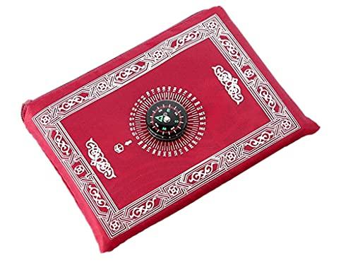 Anlising Portable Couleur Tapis, de prière Musulmane avec Compass Format de Poche Tapis de prière Ompass Qibla Finder avec livret Hpuk-pmbk Matière étanche(Rouge)