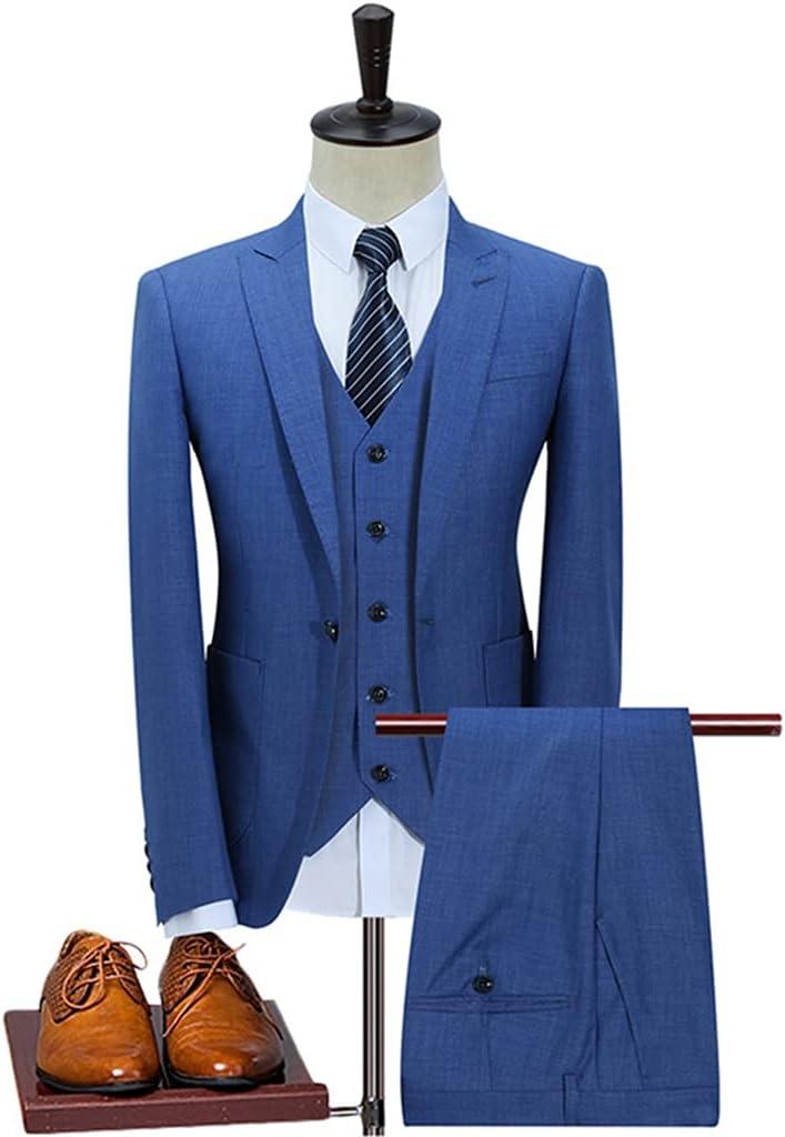 ZTTZX Men's 3-Piece Business Party Suit Peak Lapel Single Buckle Wedding Groom Dress Men's Blazer Suit Pants Vest (Color : Blue, Size : S Code)