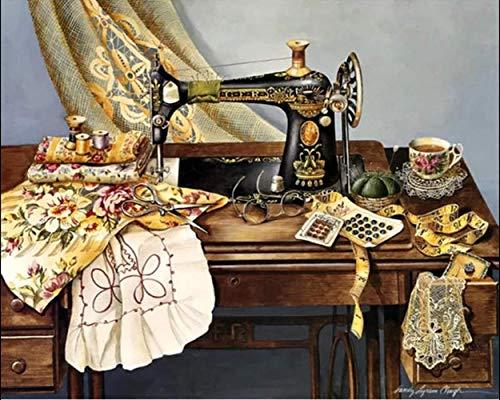 Pintar Por Números Con Pinceles Y Pigmentos Acrílicos Lienzo De Pintura Para Adultos -Arte De Máquina De Coser Vintage Regalos De Juguete Pintados A Mano De 40X50 Cm (Sin Marco)