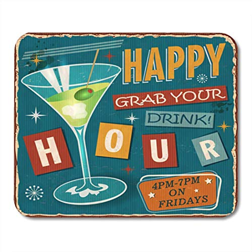Semtomn Gaming Mouse Pad Martini Vintage Happy Hour Metallschild Retro 1950er Jahre 1960er Jahre Alter Büro Büro rutschfeste Gummi Backing Mousepad Mouse Mat