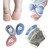Baby Crawling Anti-Slip Knee and Anti Slip Baby Boys Girls Socks Best Infant Gift, Unisex Baby Toddlers Kneepads 3 Pairs, Soft Cotton Assorted Boys Girls Grip Walkers Socks 3 Pairs (Green blue gray)