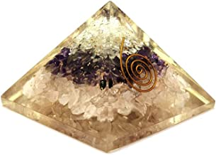 Real Crystal Store Orgone Rose Crystal Quartz and Amethyst Combo Pyramid | Orgonite Crystal Pyramid | Meditation Tool | Attractive Gift | Attract Love and Prosperity | Capricorn Pyramid | Enhance Love