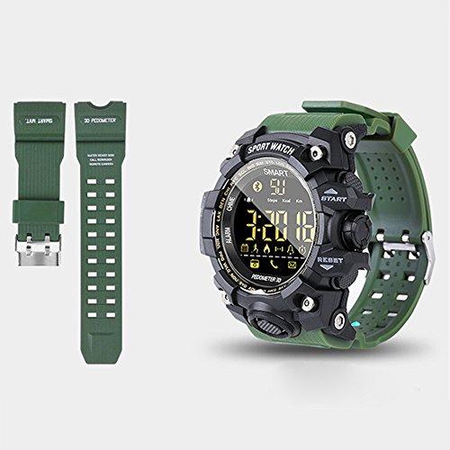 Camouflage Smart Watch - Podómetro de cámara a distancia impermeable IP68, con batería incorporada, con pantalla Bluetooth FSTN, 0.02, color verde