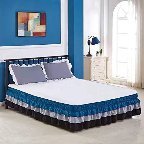 WWQQ Volantes Faldas de la Cama 120x200cm /150x200cm /180cmx200cm Encaje Estilo Princesa Colchas Lace Recortado Bedding Ruffled Bedskirt (Color : A, Size : 100x200+38cm)