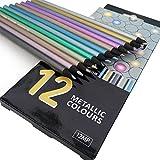 Berrd Lápices de Colores Artist 24 Lapis de Cor profissional 12pcs Set de lápices de Colores y lápices de Colores de neón metálico de Madera Negra - Colores metálicos