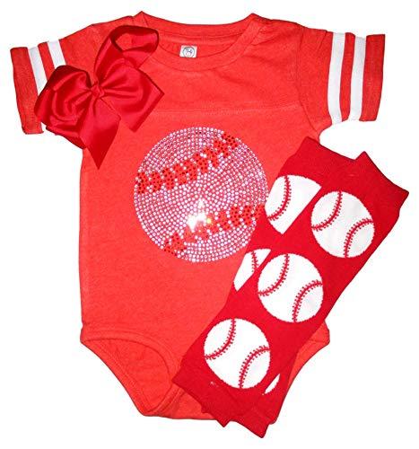 Traje de deporte de color del equipo de béisbol de las muchachas del Rhinestone bebé con calentadores de pierna de - naranja - 24 meses