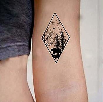 Set of 5 Waterproof Temporary Fake Tattoo Stickers Vintage Geometric Black Forest Bear Tree