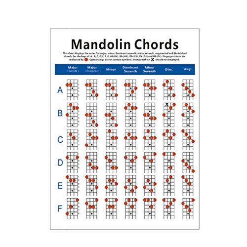 Fengyuanhong Mandolin Chord Chart kupfernen Platte Tragbarer Hinweis Mandoline Ausbildung-Papier-Diagramm für Instrument, Klein