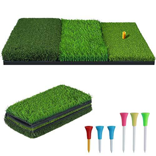 NEWCARE ゴルフマット ゴルフ練習用マット 3WAY ゴルフショットマット 室内 自宅 屋外用 人工芝 フルショッ...