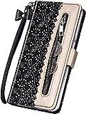 Surakey Coque Huawei P30 Lite Housse Etui,Élégantes Fleur Motif Housse Etui Fermeture éclair Étui à Rabat en Cuir PU Portefeuille Flip Case Cover Magnétique avec Fonction Stand (Noir)