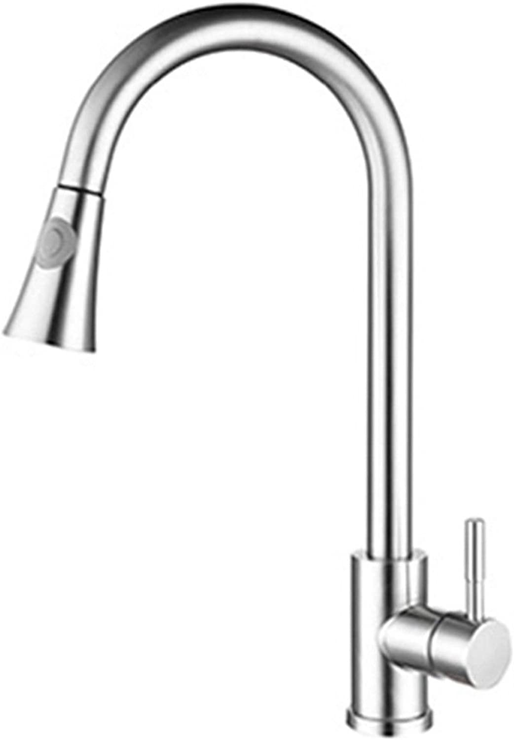 Commercial Single Lever Pull Down Kitchen Sink Faucet Brass Constructed Polished 304 Stainless Steel Kitchen Bathroom Brushed Faucet, 43  23  15Cm