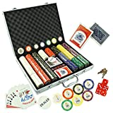 KAILE 14 Gram Poker Chips Set for Texas Holdem, Blackjack, Gambling with Carrying Aluminum Case, Cards, Buttons and 500 Dice Style Casino Clay Chips